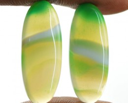 Genuine 19.40 Cts Green Onyx Oval Shape Pair