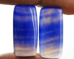Genuine 18.80 Cts Blue Onyx Pair
