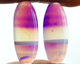 Genuine 20.85 Cts Oval Shape Purple Onyx Pair