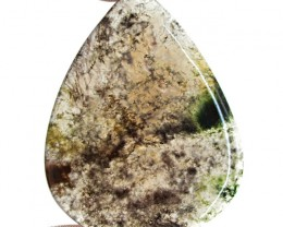 Genuine 39.50 Cts Pear Shape Moss Agate Cab