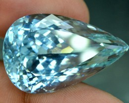 50.25 cts Pear Cut Flawless Aqua Blue Color Natural Kunzite Gemstone From A