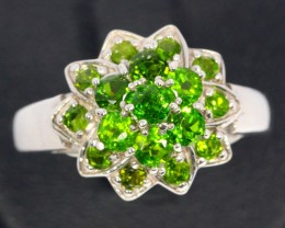 20ct Size 8.5 Green Chrome Diopside Sterling Silver 925 Ring