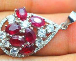 21.27ct Stamped 925 Silver Pendant/ Ruby