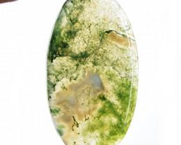 Genuine 65.65 Cts Oval Shape Moss Agate Cab