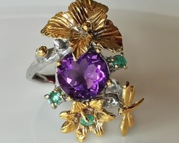 'Dragonfly Dream' Amethyst Emerald 14kt Gold Silver ring Size 9