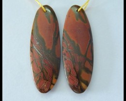 Natural Muti Color Picasso Jasper Earrings,36x12x4mm,28ct(17060314)