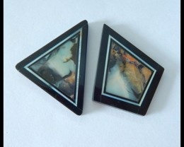 Sell 2pcs Natural Tiffany,Obsidian Intarsia Cabochons,33x25x3mm,32x22x4mm,1