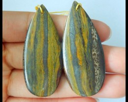 Natural Iron Tiger Eye Teardrop Earrings,47x20x4mm,68.5ct(17060405)