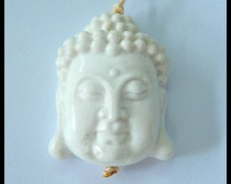 Natural White Agate Carving Buddha Head Pendant,31x25x11mm,59.5ct(17060417)