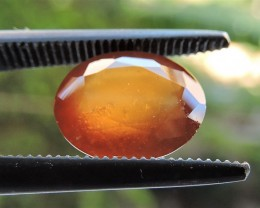 2.85ct ORISSA HESSONITE GARNET OVAL FACETED HONEY ORANGE GEMSTONE