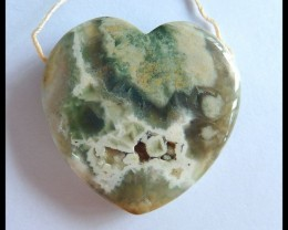 Natural Ocean Jasper Heart Pendant,33x32x8mm,60ct(17060504)