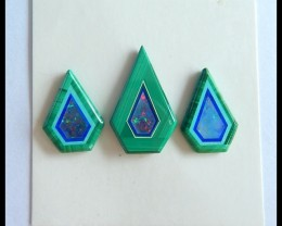 Sell 3pcs Natural Malachite,Opal Intarsia Cabochons,18x11x2mm,14x10x2mm,9ct