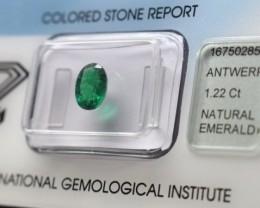 IGI Certified Emerald - 1.22Cts - Natural Zambian Emerald