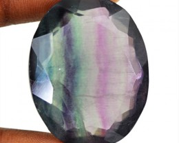 Genuine 77.75 Cts Oval Shape Faceted Fluorite Gem