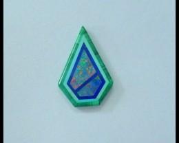 Natural Malachite,Opal Intarsia Cabochon,19x13x2mm,5.5ct(17060616)