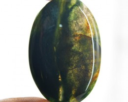 Genuine 59.50 Cts Green Moss Agate Untreated Cab