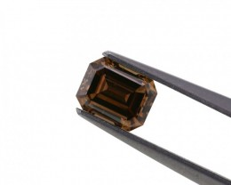 1.04 ct. Natural Fancy Brown color diamond Emerald shape.