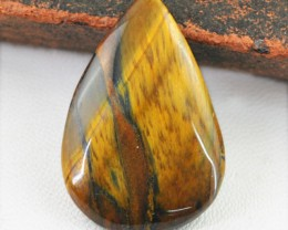 Genuine 33.50 Pear Shape Golden Tiger Eye Cab