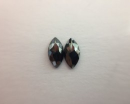 0.46 ct. Black Diamond Pair of Marquise shape one side polished.