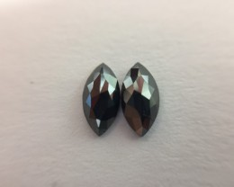 0.55 ct. Black Diamond Pair of Marquise shape one side polished