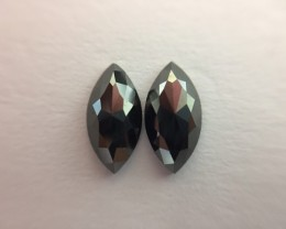 1.28 ct. Black Diamond Pair of Marquise shape one side polished