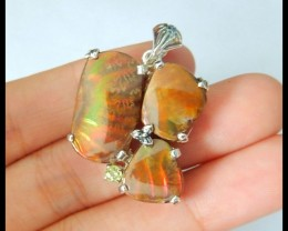 New Design! Natural Ammonite Colorful Fire With 925 Silver Charm Pendant Be