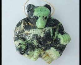 Natural Green Turquoise Carving Lovely Bear Animal Pendant,38x37x15mm,100.5