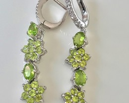 Peridot Gem Earrings Sterling Silver 14kt White Gold