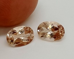 1.40 Crt Natural Peach MORGANITE Amazing Pair   j-66