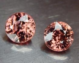 2.84cts, Zircon,  Natural Stone, Unheated, VVS1, Calibrated Pair