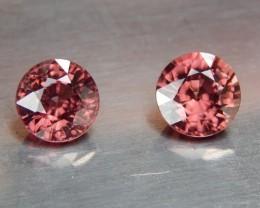 5.41cts,  Pink Zircon Pair,  Natural Stone, Unheated, VVS1