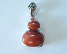 Natural Wood Fossil Jasper With Sterling 925 Silver  Pendant ,19x14x8mm,19.
