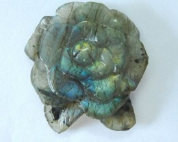 Natural Flashy Labradorite Handcarved Flower Charm Pendant Bead,40x35x8mm,6