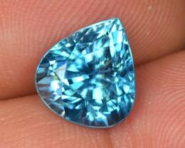 ~ATTRACTIVE~ 7.55 Cts Natural Sparkle Blue Zircon Pear Cambodia