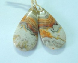 Natural Crazy Lace Agate Teardrop Earrings,31x15x5mm,30.5ct(17061301)