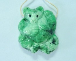 Natural Green Turquoise Handcarved Bear Pendant,32x29x11mm,57ct(17061309)