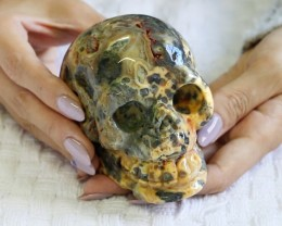 4 Inch Crazy lace Agate Skull  PPP 1324
