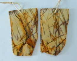 Natural Muti Color Picasso Jasper Nugget Earrings,43x26x3mm,53ct(17061402)
