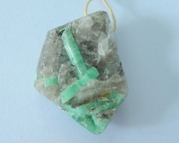 Natural Emerald Rough Stone Heated Treatment Pendant Bead,35x25x11mm,64.5ct