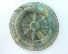 New Design!Natural Labradorite Carved steering wheel Cabochon,51x7mm,150ct(