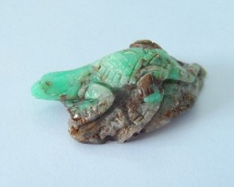 Natural Chrysoprase Handcarved Lizard Cabochon,Unique Lizard Decoration,41x