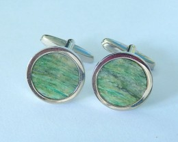 Natural Camouflage Jasper With 925 Silver Cuff links Paris,16x3mm,49.3ct(17