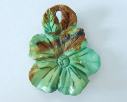 Hot!! Semiprecious Turquoise Handcarved Flower Pendant,35x29x5mm,26.75ct(17