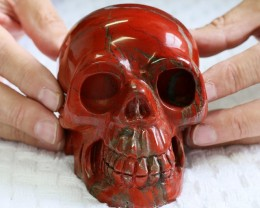 Large Red Jasper Gemstone Skull  PPP 1328