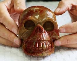 Large Red Jasper Gemstone Skull  PPP 1332