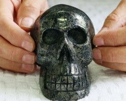 Large Lapis and Pyrite Gemstone Skull  PPP 1330