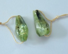 Natural Green Kyanite Faceted Earrings,21x10x8mm,32ct(17061609)