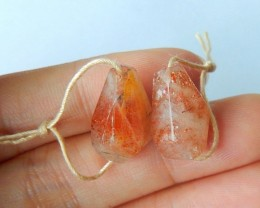Natural Sparkle Sunstone Faceted Earrings,17x12x8mm,19ct(17061708)