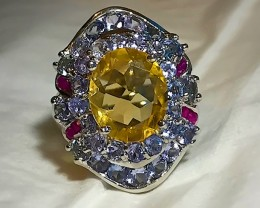 A MAGNIFICENT TANZANITE RUBY CITRINE Ring Size 8