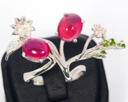 41ct Size 9 Blood Red Ruby Sterling Silver 925 Ring
